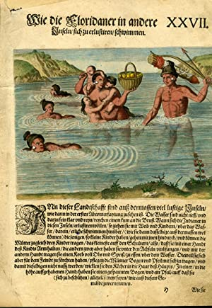 Hand Colored Engraving from a German Language Edition of Le Moyne's Brevis narratio [ca. 1591 fro...