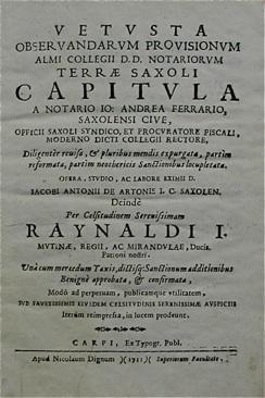 Vetusta observandarum Provisionum almi Collegii D.D. Notariorum: CAPITOLI DEI NOTAI