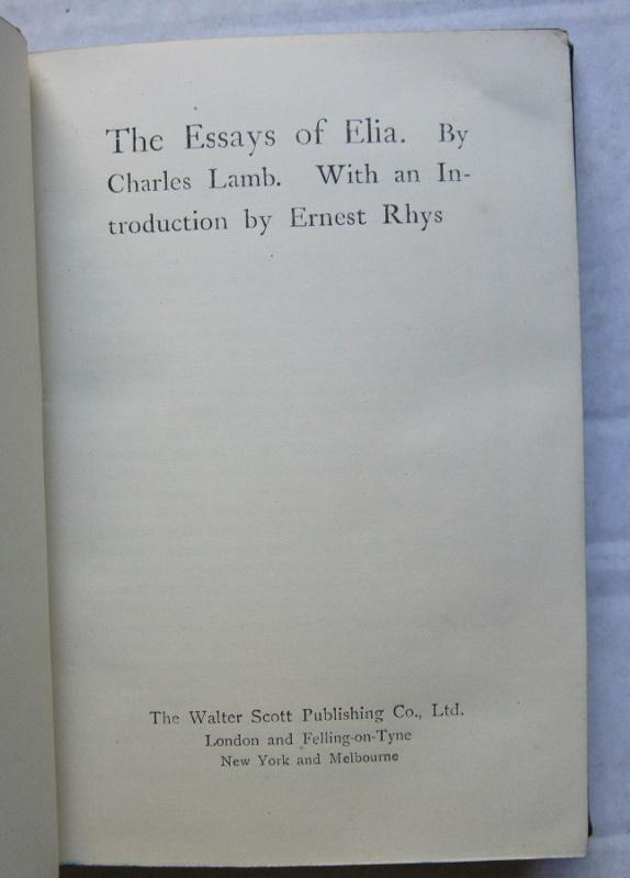 the essays of elia by charles lamb Essays of elia has 291 ratings and 45 reviews elisha said: my copy was printed in 1898 and was super cheap on ebay and whenever i read this book i love.