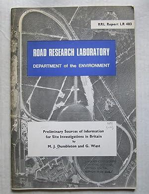 Preliminary Sources of Information for Site Investigations: DUMBLETON, M J