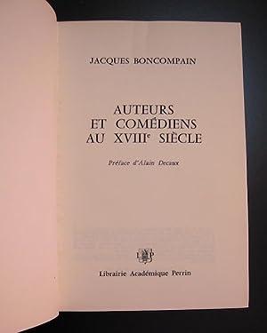 Auteurs et comédiens au XVIIIe siècle: Boncompain, Jacques