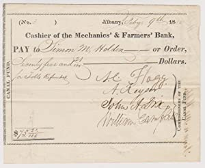 Canal Fund Document: Cashier's Note On The: Dix, John Adams;