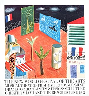 David Hockney: Original Offset Lithograph Exhibition Poster, 'The New World Festival of the Arts:...