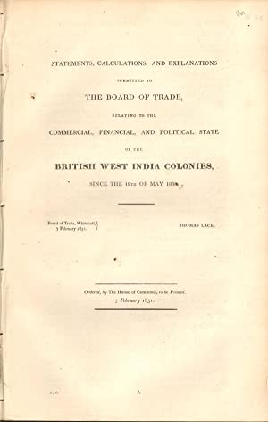 Statements, calculations, and explanations submitted to the Board of Trade, - relating to the ...