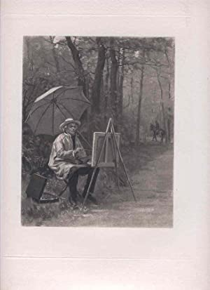 Portrait of an Artist Painting Outdoors. [Photomechanical: Girardet, Jules.