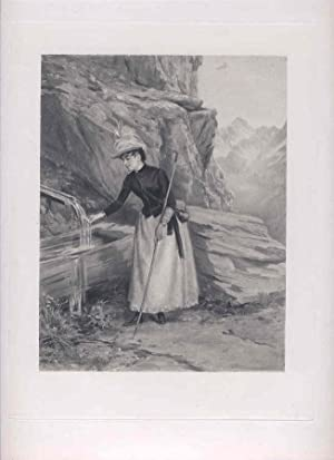 Woman at a Mountain Spring. [Photomechanical Reproduction: Girardet, Jules (1856-1946).