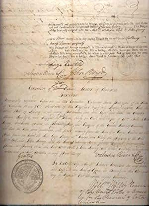 Bill of Lading for Shipping Wine from Barcelona, Spain to Philadelphia in 1800. [Framed & ...