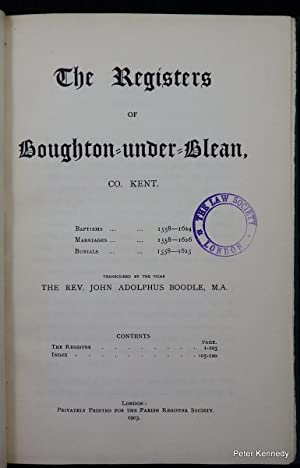 The Registers of Boughton under Blean,. Kent