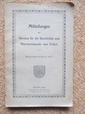 Mitteilungen des Vereins für die Geschichte und Altertumskunde von Erfurt, 39. Heft: ...