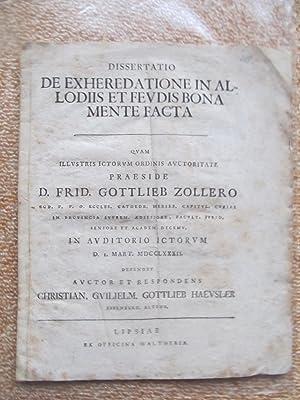 DE EXHEREDATIONE IN ALLODIIS ET FEVDIS BONA MENTE FACTA-Qvam illvstris ictorvm ordinis avctoritate ...