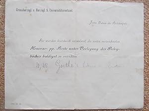 """Honorar pp. Reste Vorlegung (Mahnung) ein Belegbuch vorzulegen """"Goethe sein leben und Werk&..."""