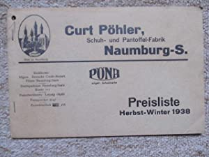Preisliste Herbst/Winter 1938: Curt Pöhler, Naumburg