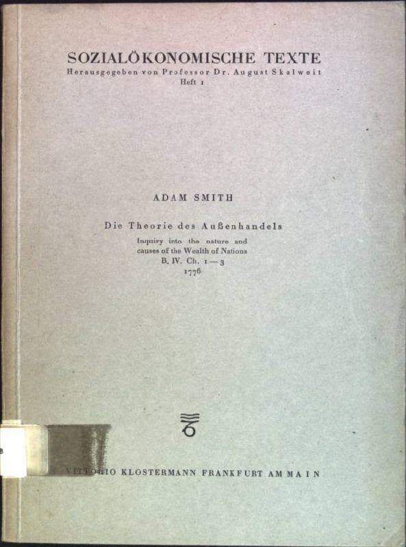 Die Theorie des Außenhandels (Inquiry to the: Smith, Adam:
