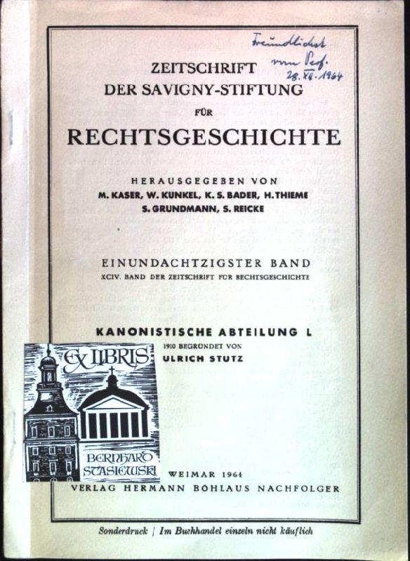 Angebliche Breslauer Diözesansynoden (SIGNIERTES EXEMPLAR) Sonderdruck aus: Sabisch, Alfred: