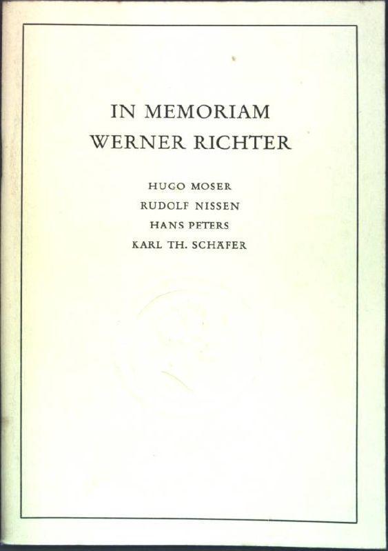 In Memoriam Werner Richter Alma Mater, Beiträge: Moser, Hugo, Rudolf