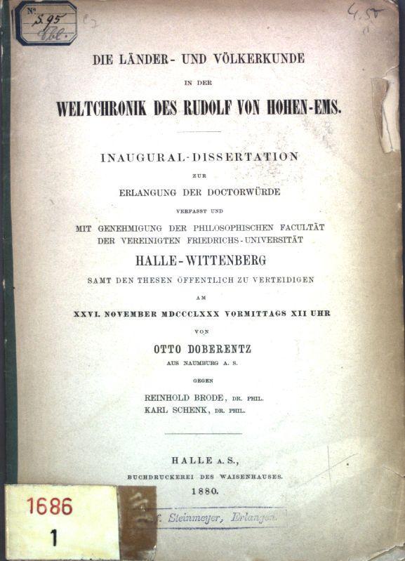 Die Länder- und Völkerkunde in der Weltchronik: Doberentz, Otto: