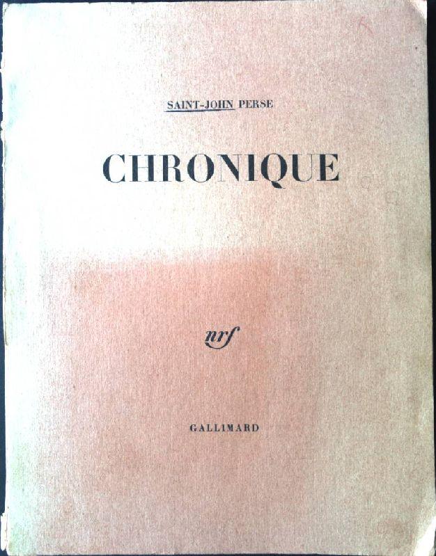 Chronique Ceuvre Poétique 1: Perse, Saint-John:
