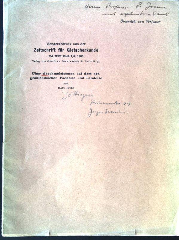 Über Abschmelzformen auf dem ostgrönländischen Packeise und: Poser, Hans: