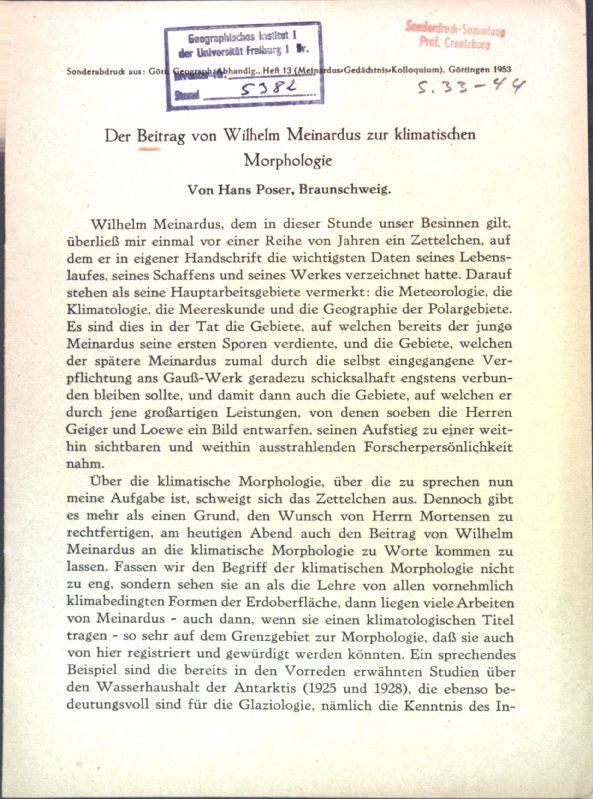Der Beitrag von Wilhelm Meinardus zur klimatischen: Poser, Hans: