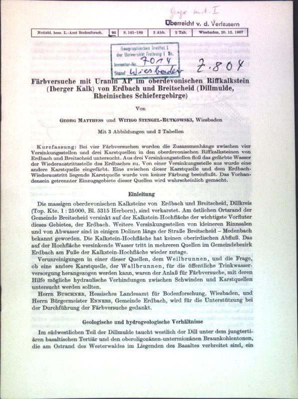 Färbversuche mit Uranin AP im oberdevonischen Riffkalkstein: Mattheß, Georg und