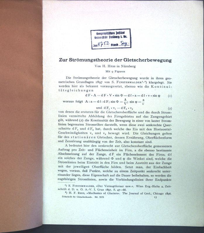 Zur Strömungstheorie der Gletscherbewegung;: Hess, H.: