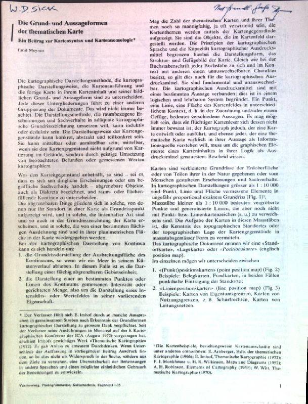 Die Grund- und Aussageformen der thematischen Karte;: Meynen, Emil: