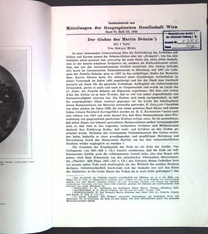 Der Globus des Martin Behaim;: Muris, Oswald: