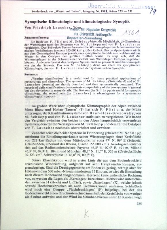 Synoptische Klimatologie und klimatologische Synoptik;: Lauscher, Friedrich: