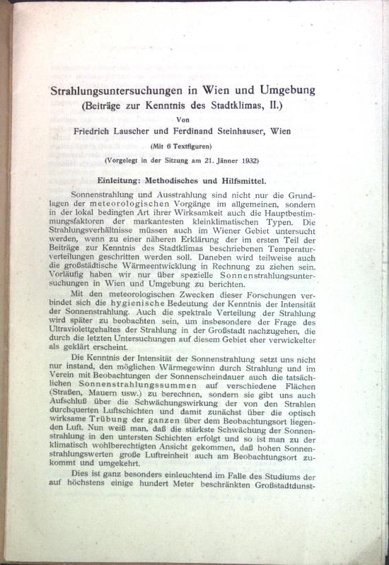 Strahlungsuntersuchungen in Wien und Umgebung (Beiträge zur: Lauscher, Friedrich und