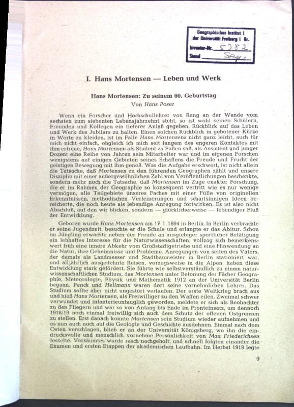 Hans Mortensen: Zu seinem 60. Geburtstag (inkl.: Poser, Hans: