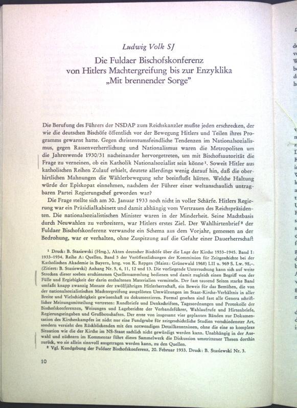 Die Fuldaer Bischofskonferenz von Hitlers Machtergreifung bis: Volk, Ludwig: