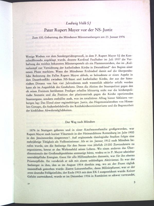 Pater Rupert Mayer vor der NS-Justiz: Zum: Volk, Ludwig:
