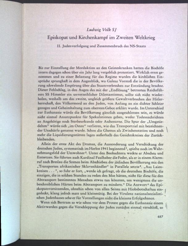 Episkopat und Kirchenkampf im Zweiten Weltkrieg I.: Volk, Ludwig: