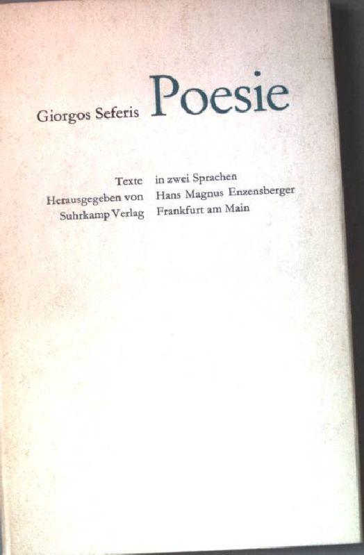 Poesie. Griechisch-Deutsch.: Seferis, Giorgos: