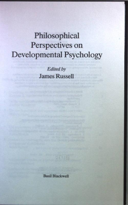 Philosophical Perspectives on Developmental Psychology. - Russell, James