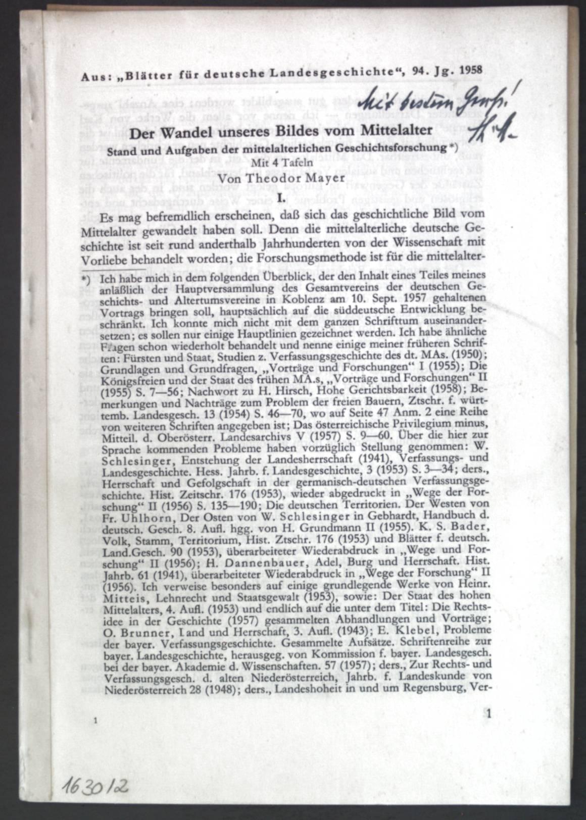Der Wandel unseres Bildes vom Mittelalter: Stand: Mayer, Theodor: