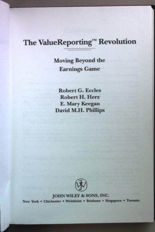 the valuereporting revolution moving beyond the earnings game