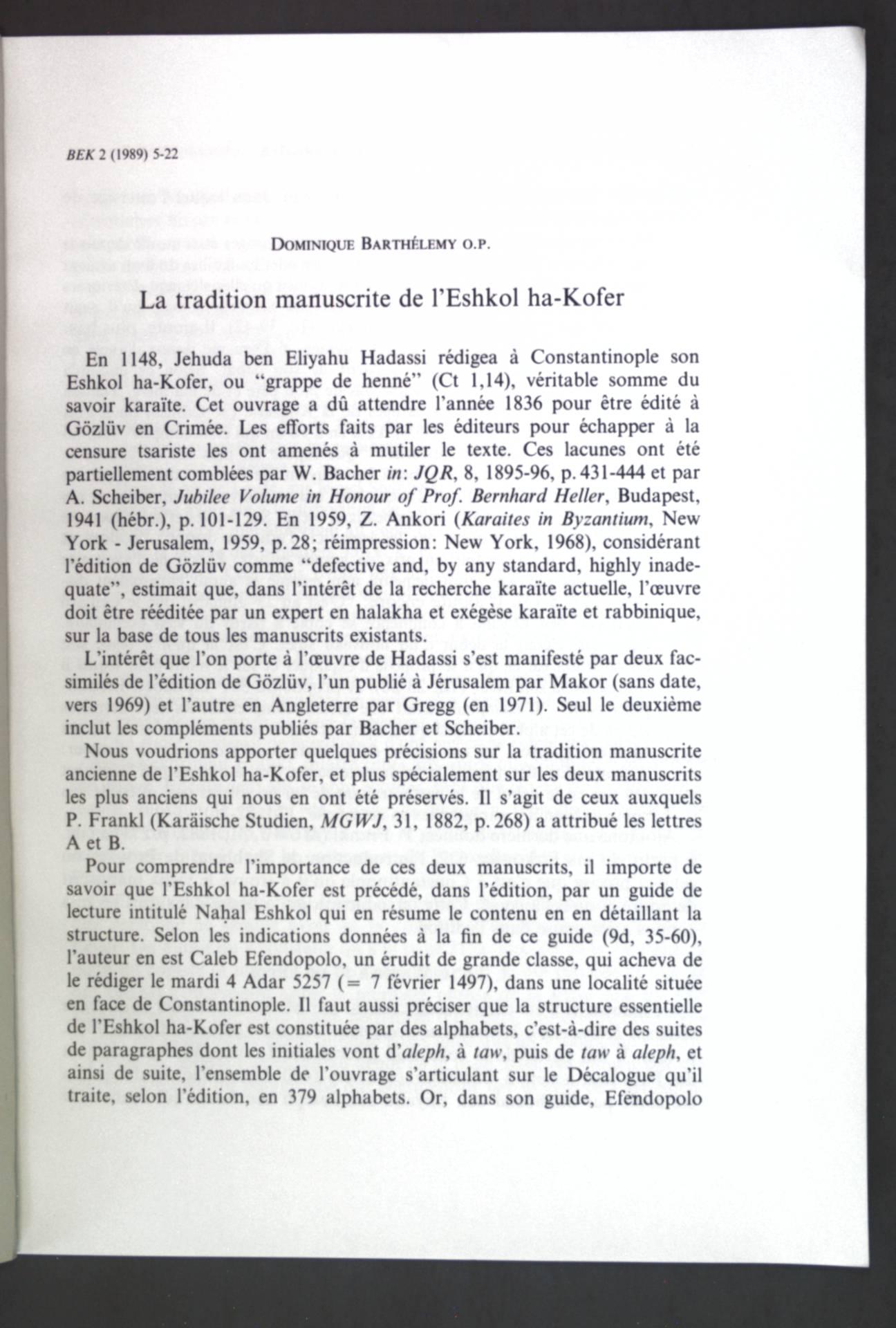 La tradition manuscrite de l'Eshkol ha-Kofer;: Barthelemy, Dominique: