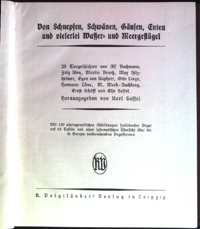 Von Schnepfen, Schwänen, Gänsen, Enten und vielerlei: Soffel, Karl: