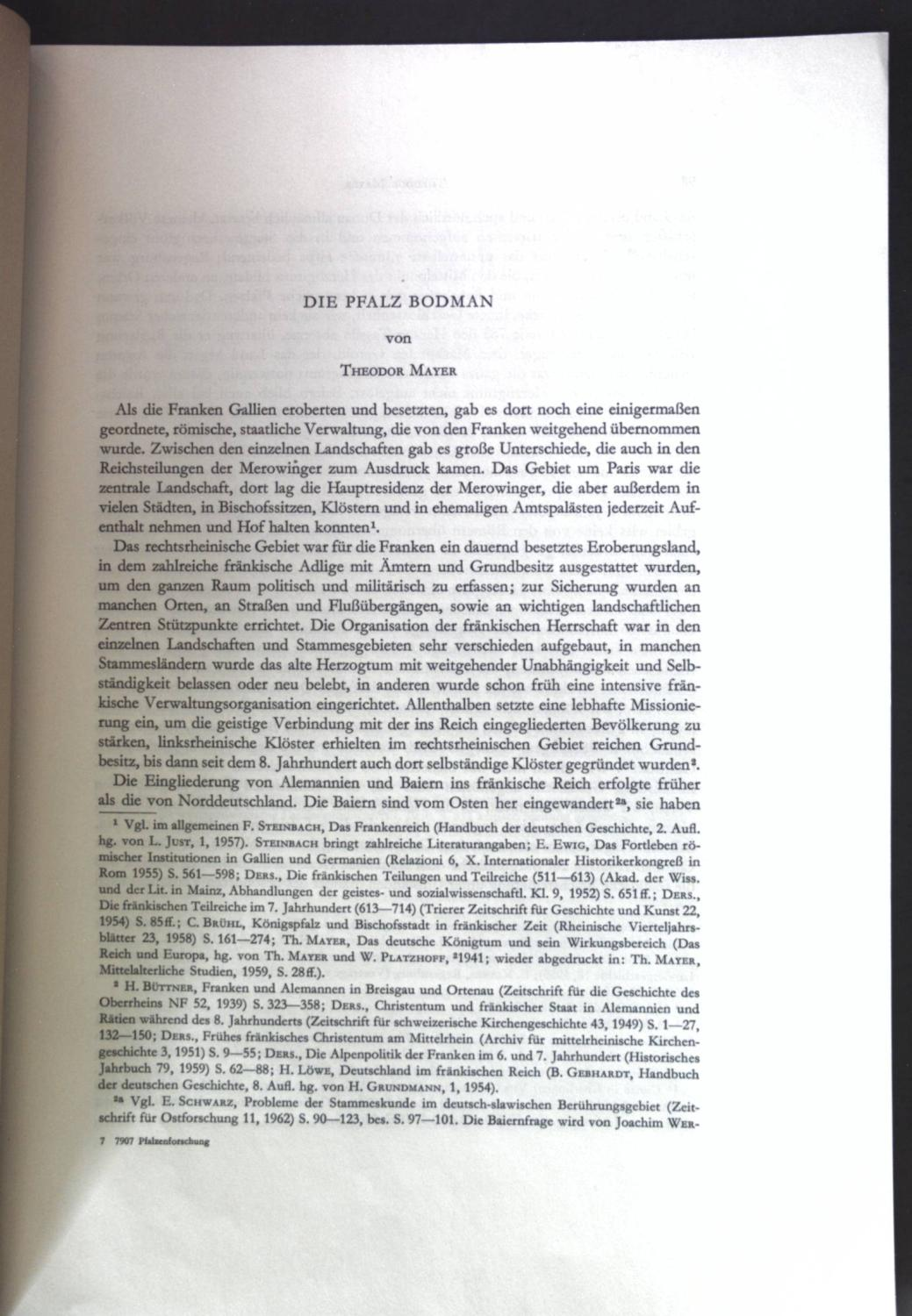 Die Pfalz Bodman; Sonderdruck aus: Veröffentlichungen des: Mayer, Theodor: