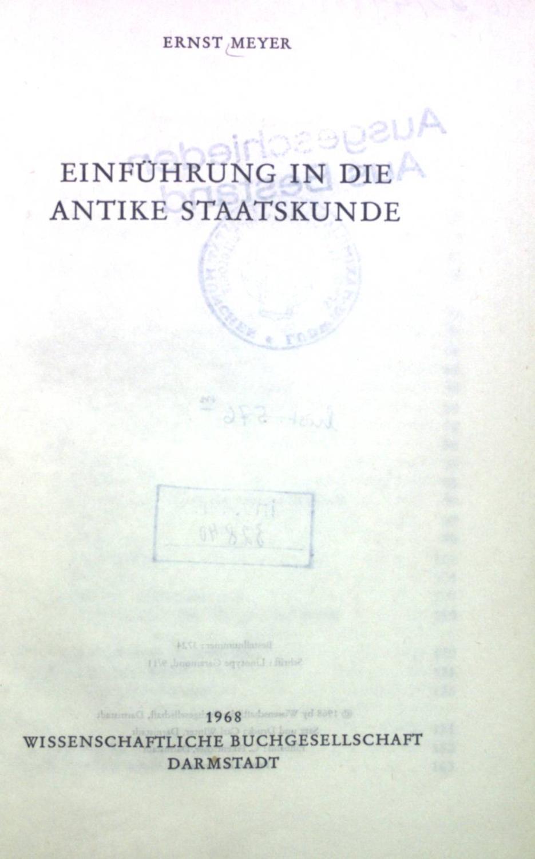 Einführung in die antike Staatskunde. Die Altertumswissenschaft.: Meyer, Ernst:
