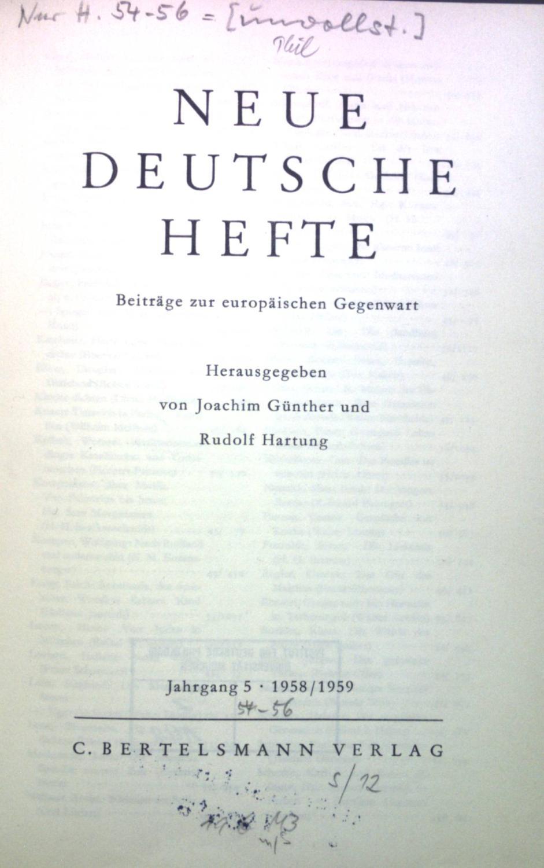 Neue deutsche Hefte: Beiträge zur europäischen Gegenwart,: Günther, Joachim und