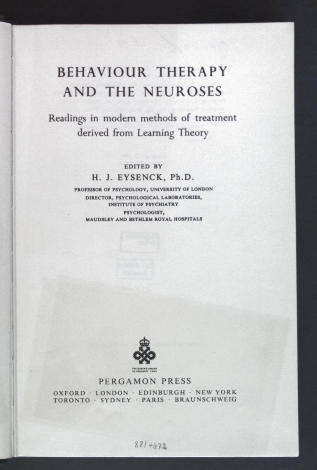 Behaviour Therapy and the Neuroses - Reading: Eysenck, H. J.: