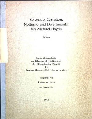 Anhang zu: Serenade, Cassation, Notturno und Divertimento: Hess, Reimund: