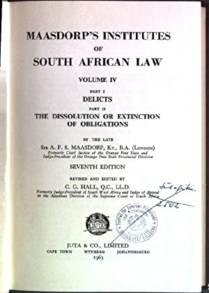 Maasdorp's institutes of South African Law; Volume: Maasdorp, A.F.S. and