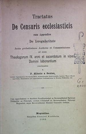 Tractatus De Censuris ecclesiasticis cum Appendice De: Sexten, Hilario a: