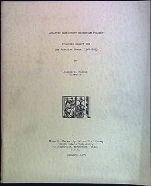 Monastic Manuscript Microfilm Project: Progress Report VII: Plante, Julian G.: