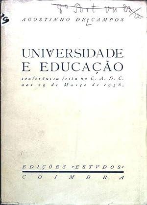 Universidade e Educacao; Separata dos Estudos No.: Campos, Agostinho de: