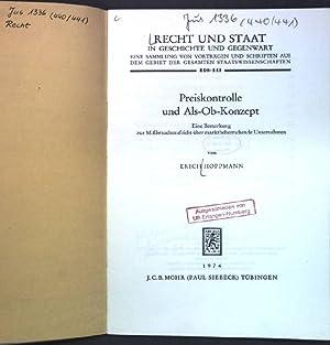 Preiskontrolle und Als-Ob-Konzept : eine Bemerkung z.: Hoppmann, Erich: