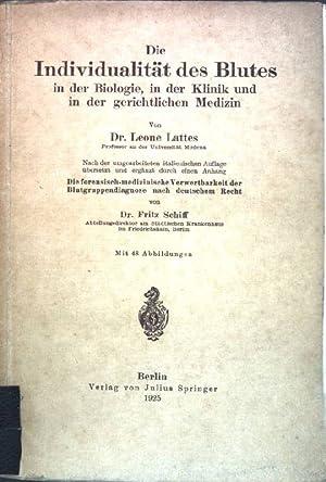 Die Individualität des Blutes in der Biologie,: Lattes, Leone: